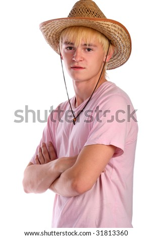 Young man in pink shirt and cowboy hat. Isolated - stock photo