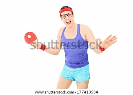 Young man in sportswear playing table tennis isolated on white background - stock photo