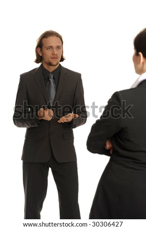 young man in suite explain woman business