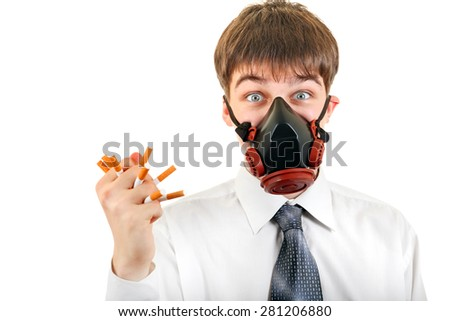 Young Man in the Mask hold a Cigarettes Isolated on the White Background - stock photo