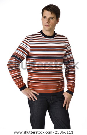 young man in the striped sweater on a white background