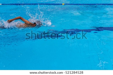 Young man in the swimming