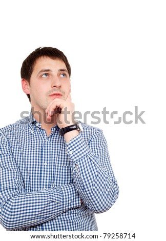 Young man in thoughtful pose. Isolated over white.