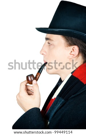 young man in top hat smoking a pipe isolated on white