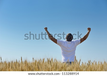 young man in wheat field representing success agriculture and freedom concept - stock photo