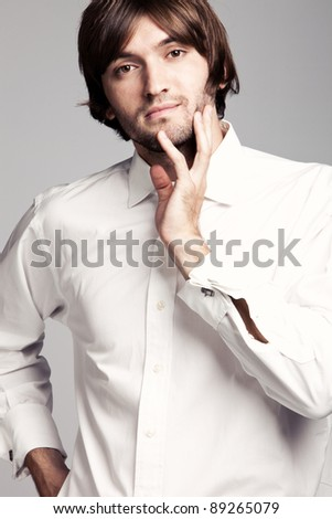 young man in white shirt portrait