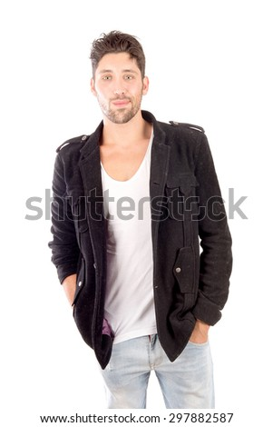 young man isolated in white background