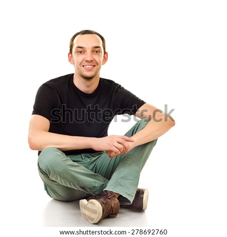 young man isolated on a white background - stock photo