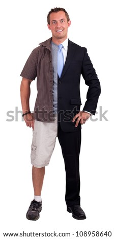 Young man isolated on a white background wearing half a suit and half casual clothing showing a balance - stock photo
