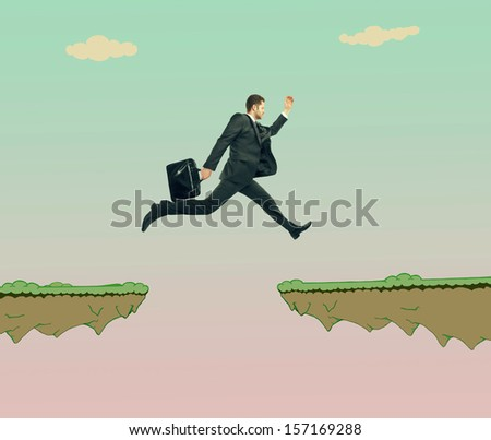 young man jumping at drawing rock - stock photo