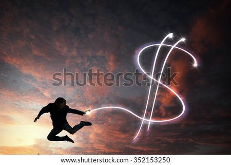 Young man jumping high in sky representing dollar concept