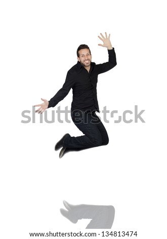 Young Man Jumping In Joy Over White Background - stock photo