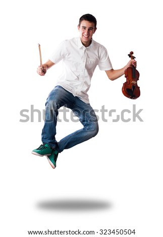 young man jumping with violin on white background