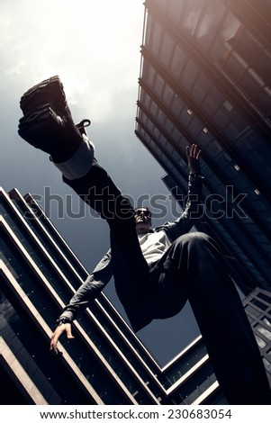 young man jumps - stock photo