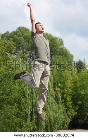 young man jumps outdoor