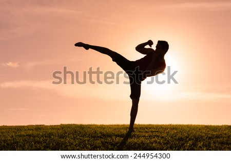 Young man kickboxing outdoors - stock photo