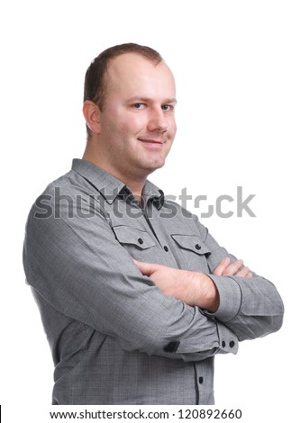 Young man looking at camera on a white background - stock photo