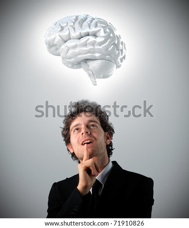 young man looking 3d brain