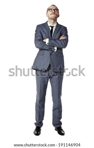 Young man looking up and wait for something. isolated on white. - stock photo