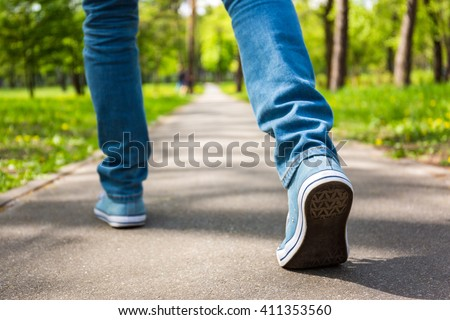 Young man making a step, new opportunity concept - stock photo