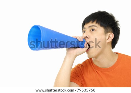young man making announcement - stock photo