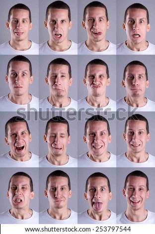 Young man making different facial expressions/Facial expressions