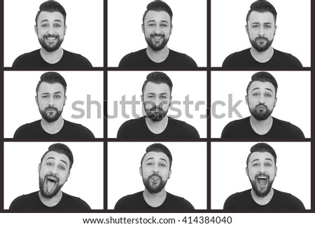 Young man making nine different facial expressions - stock photo