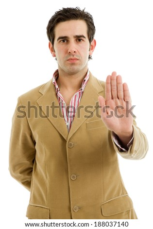 young man making stop with his hand, isolated - stock photo