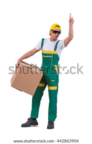 Young man moving boxes isolated on white - stock photo