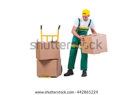 Young man moving boxes with cart isolated on white - stock photo