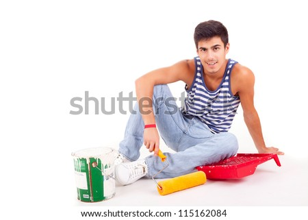 Young man moving to new house, isolated over white