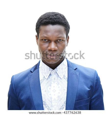 young man of african descent looking serious. isolated on white.