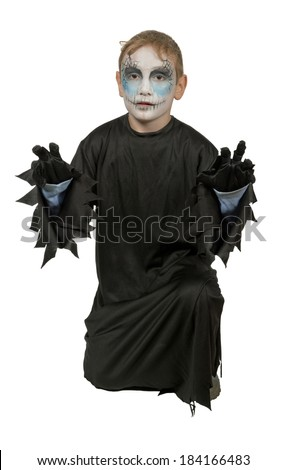 Young  man  on  Halloween  dressed in costume terrible maniac