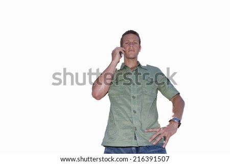 young man on phone with hand on hip, cut out