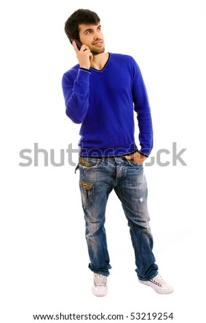 young man on the phone, isolated on white