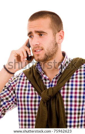 young man on the phone, isolated on white - stock photo