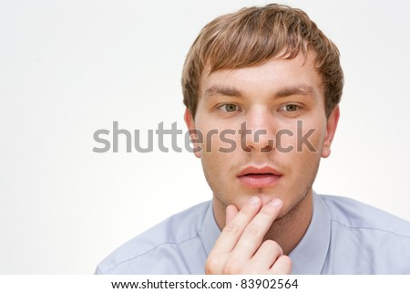 young man on white background - stock photo