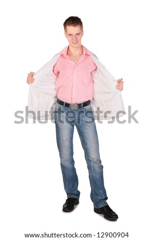 young man opened jacket