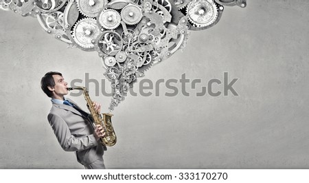Young man playing saxophone and gears coming out