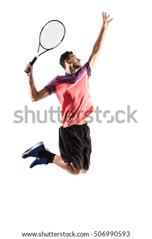 Young man  playing tennis isolated on white