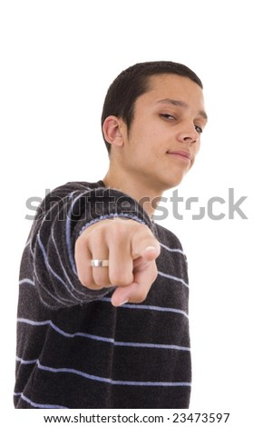 Young man pointing at you isolated on white