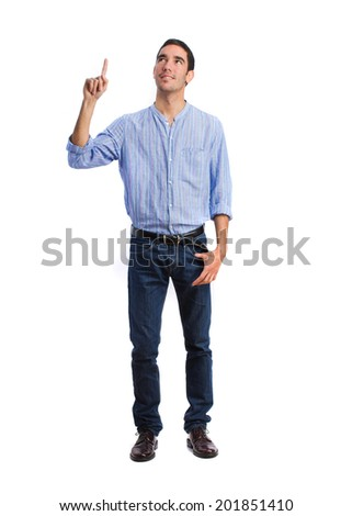 young man pointing gesture - stock photo