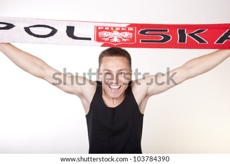 Young man Poland fan - stock photo