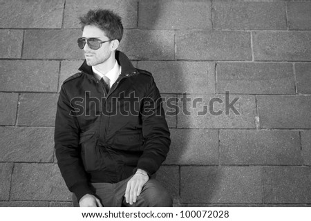Young man portrait. Black and white. - stock photo