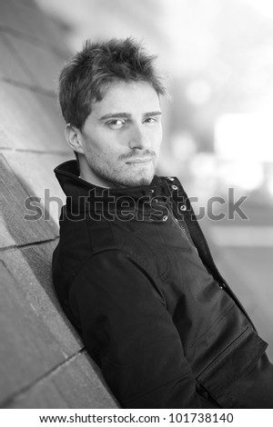 Young man portrait. Black and white.
