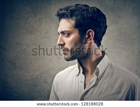 young man portrait in profile