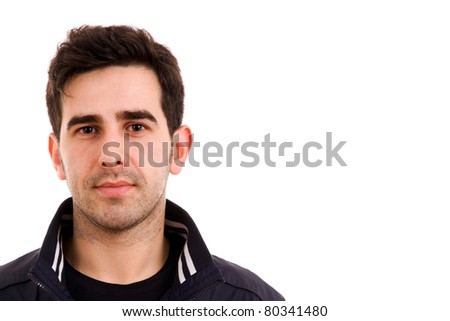 young man portrait, isolated on white