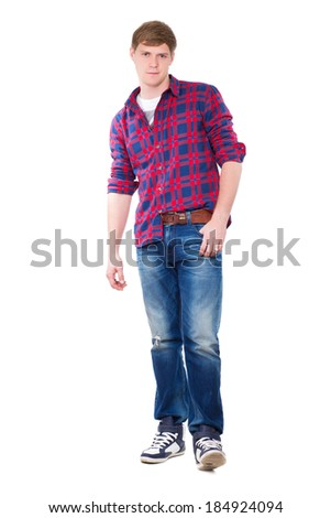 Young man posing in checked blue and red shirt. Isolated on white