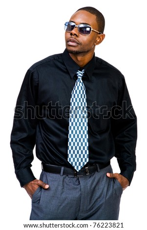 Young man posing isolated over white - stock photo