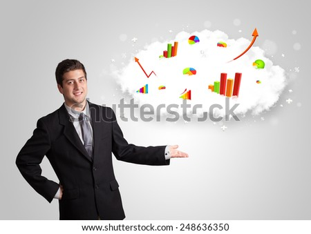 Young man presenting cloud with graphs and charts concept - stock photo